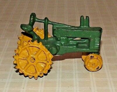 """1998 CBK Reproduction of Green & Yellow Cast Iron Tractor - 2.5"""" T x 4"""""""