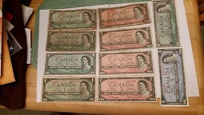 10 Canada Dollar Bills $18 Face 9-1954 1-1967