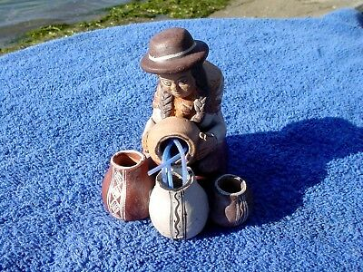 c Unusual Vintage Hand Made Red Clay Pottery Native Indian Woman Working Pots