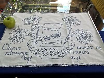 Antique Polish Poland Chic 20x28 Washstand Towel Blue Hand Embroidery w/ Saying