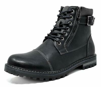 Bruno Marc Men Engle-05 Motorcycle Combat Fur Lined Chelsea Ankle Oxford Boots