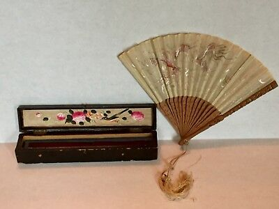 """Antique 9"""" Fan Carved Wood Silk embroidered Asian Painted Birds dragon Case box"""