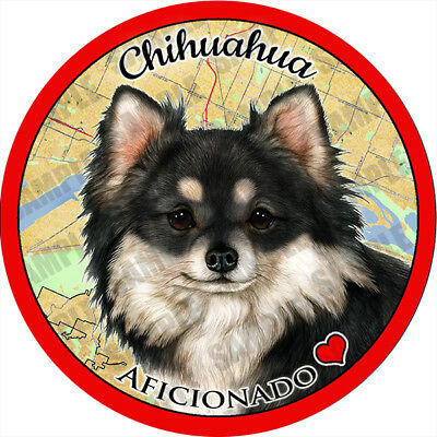 Chihuahua Long Hair Black Absorbent Porcelain Dog Breed Car Coaster