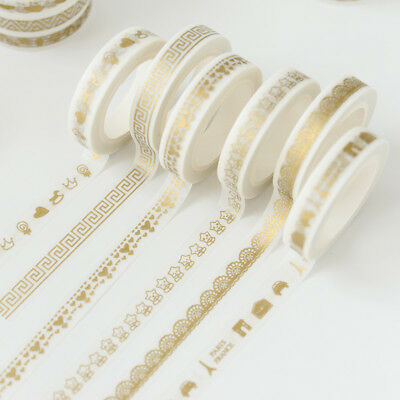 5pcs Washi Tapes DIY Dairy Scrapbook Gold Foil Adhesive Tape Decoraations New