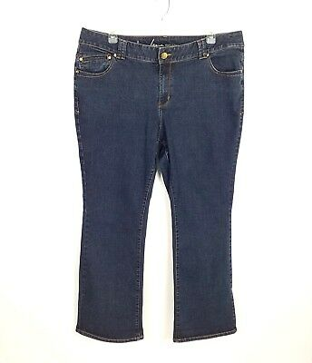 Lane Bryant Womens Dark Blue Wash Genius Slim Boot Cut Stretch Denim Jeans 22W