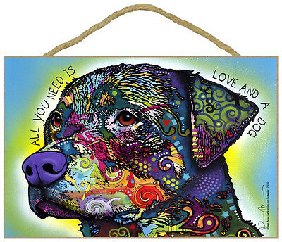 Rottweiler All You Need Is Love And A Dog Dean Russo Wood Plaque Sign
