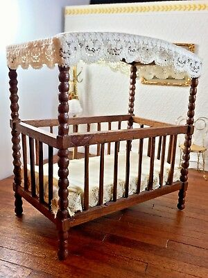 Rare Dollhouse Miniature Artisan Leo Fallert Carved Solid Walnut Canopy Crib