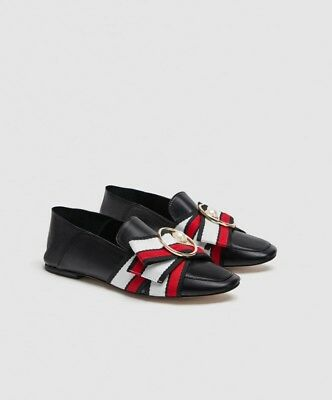 7c911c19e00 New With Tags Zara Leather Flat Loafer With Ribbon Bow Detail Ref 2586 301  Sz