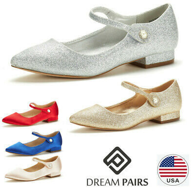 DREAM PAIRS Women's Sole_Silky Fashion Low Stacked Ankle Straps Flats Shoes