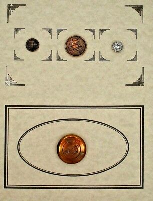Antique/vintage Lot Of 4 Old Metal Buttons With Early Cars- Mounted On Card