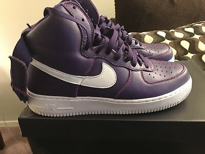 check out 13836 b2184 Men s Nike Air Force 1 High Retro QS Size 11 Purple White   PRE OWNED