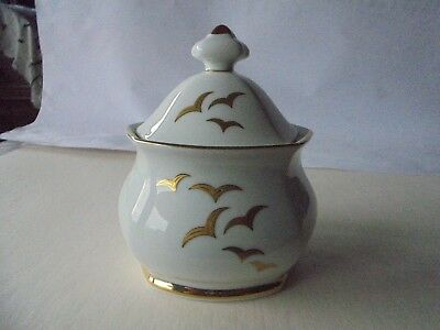 FINE PORCELAIN Gold Seagulls LIDDED SUGAR BOWL by Winterling Bavaria Germany