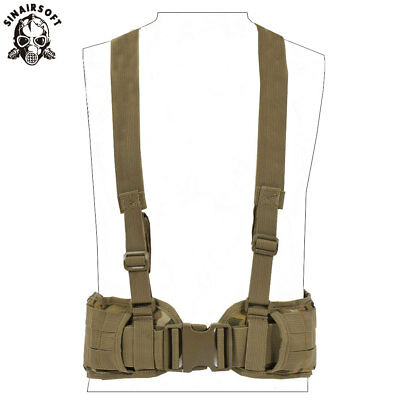 Tactical Molle Waist Padded Belt w/ Suspender Combat Multifunction Hunting Belts