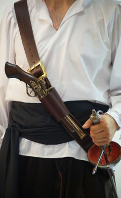 Pirate-Buccaneers-Re-enactment-Larp-Cosplay GUN & SWORD BALDRIC in 2 Colours