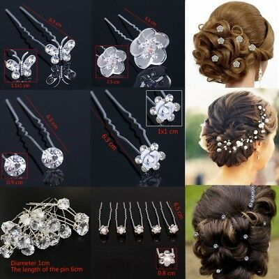 Bridal Hair Pins Rhinestone Pearl Diamante Flower Slide Clips Grips Wedding Wear