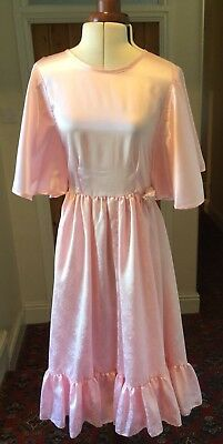 Vintage Girl'S Pink Bridesmaid/party Dress With Batwing Sleeves