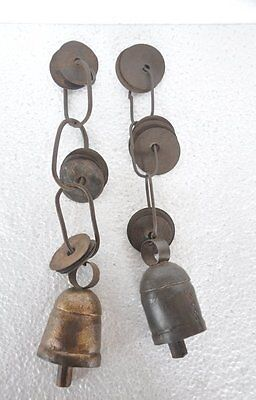 2 Pc Old Iron Unique Shape Handcrafted Hanging Bells , Rich Patina