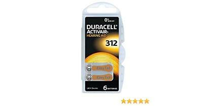 6| 12 x Duracell Activair 312 Hearing Aid Batteries 1.45 Zinc PR41 Air Easy Tab