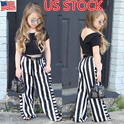 Toddler Infant Baby Girls Summer Clothes T-shirt Tops+Pants Outfits 2PCS Set US