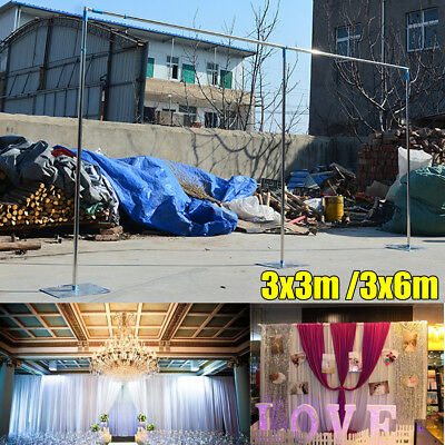 6Mx3M/3Mx3M Wedding Party Backdrop Stand Stage Telescopic Pipe Pole and Base Kit