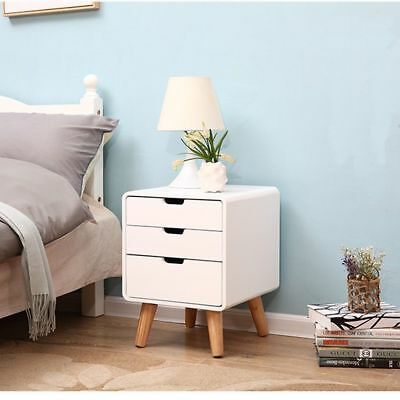 White Bedside Table Night Stand Cabinets Bedroom Organizer Furniture