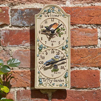 Smart Garden Outside In Designs Birdberry Wall Clock & Thermometer