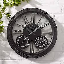 "Smart Garden  Outside In Designs Exeter Wall Clock & Thermometer 15"" Black"