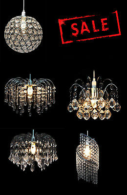 Modern Chandelier Style Ceiling Pendant Light Shade Acrylic, K9 Crystal & Glass