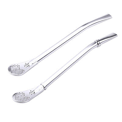 2PCS Tea Stainless Steel Drinking Yerba Mate Straw Gourd Bombilla Filter Spoons