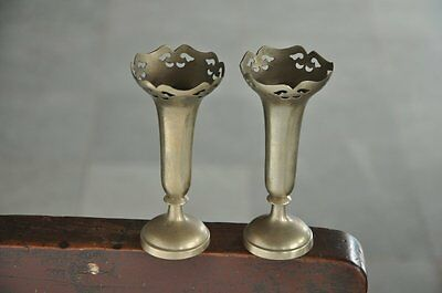 Old Brass Unique Shape Small Handcrafted Flower Vase / Pot , Rich Patina