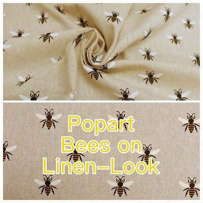 Popart Bees Bumblebee Linen Colour Linen-Look Cotton-Rich Curtain Craft Fabric