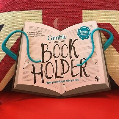 Gimble The Adjustable Book Holder - True Blue. Will hold any book open! New