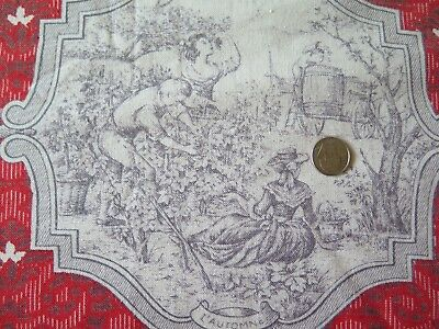 """Vintage French 1940s Red & Gray Four Season Cotton Toile Fabric~38""""L X 26""""W"""