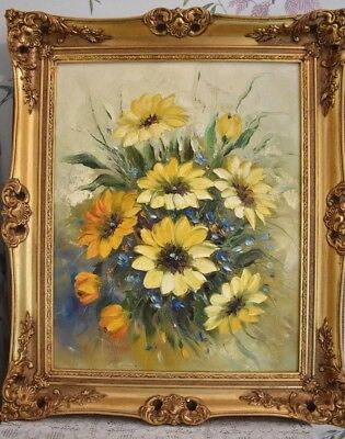 Shabby Chic Large Gold Gilt Framed Still Life Painting Floral On Canvas