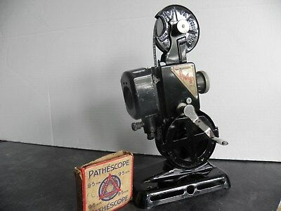 """Pathescope """"imp"""" 9.5 Film Projector With Motor, Extension Arms, Box & Instructin"""