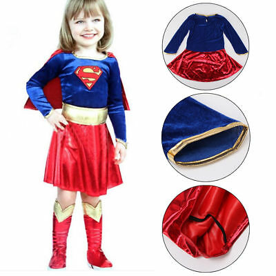 Girls Super-girl Dress Costume Halloween Party Birthday Superhero size 1-5 years