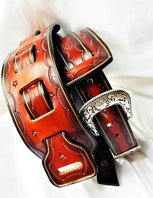 Lovely hand-made narrow leather guitar strap with buckle. Great Price!!