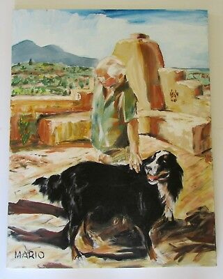 Bernese Mountain Dog in Santa Fe Oil Portrait Painting by Mario