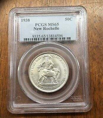 1938 New Rochelle Commemorative Half Dollar,PCGS MS-65,Free Shipping