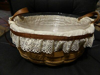 Longaberger 10 Inch round Basket 1985 with Liner and Protector