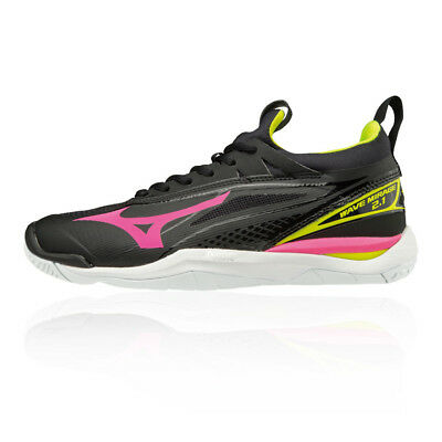 Mizuno Womens Wave Mirage 2.1 Indoor Court Shoes Black Pink Sports Handball