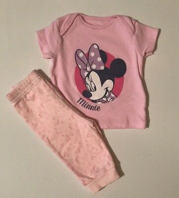 Disney Baby Girl Pyjamas Pink Minnie Mouse Short Sleeve Floral Outfit 0-3 Months