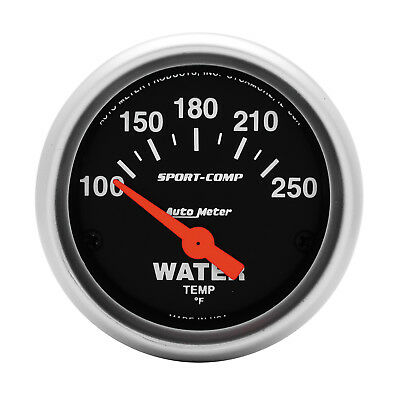 Autometer 3337 Sport-Comp Water Temperature Gauge 2-1/16 in., Electrical