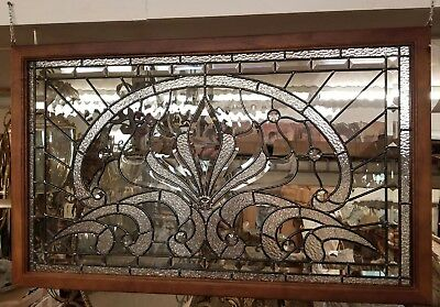 """Leaded Stained Glass Window Brilliant. Horizontal 22""""tall x 36"""" wide x 1"""" deep"""