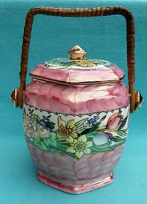 beautiful vintage Maling pink and floral biscuit barrel