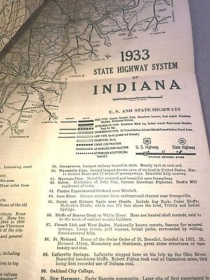 Vintage 1933 MAP: Indiana State Highways: A Century of Progress: Indianapolis