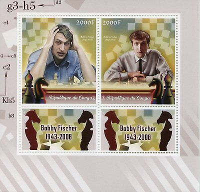 Congo 2018 MNH Bobby Fischer 2v M/S Games Chess Sports Stamps