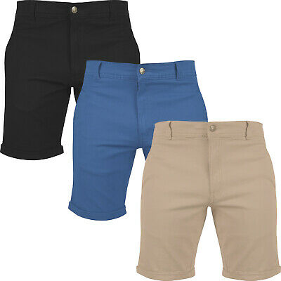 New Mens Slim Fit Chino Shorts Stretch Cotton Elastane Casual Summer Rolled Hem