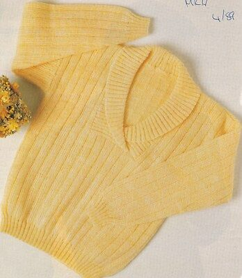 Child's Shawl-Collared Sweater Pattern For Duomatic Knitting Machines
