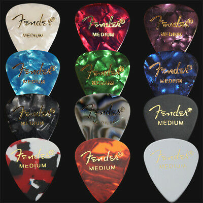 12 x Medium Fender Celluloid Guitar Picks / Plectrums - 1 Of Each Colour
